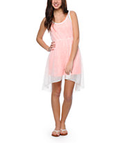 Lunachix Coral & Cream Crochet High Low Dress