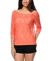 Lunachix Coral Lace Top