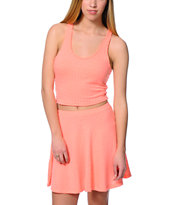 Lunachix Coral Textured Cropped Tank Top