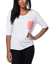 Lunachix Coral Tribal Print White Pocket Tee Shirt