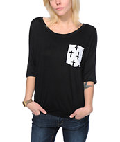 Lunachix Crosses Pocket Black T-Shirt