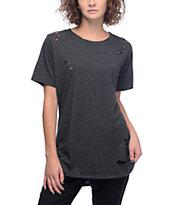 Lunachix Destructed Black Long T-Shirt