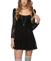Lunachix Ella Black Floral Lace Dress