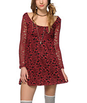 Lunachix Ella Burgundy Floral Lace Dress
