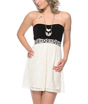 Lunachix Emmy Tribal & Lace Strapless Dress