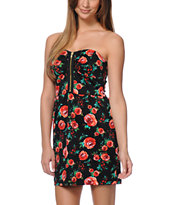 Lunachix Floral Print Black Strapless Zipper Dress