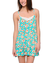 Lunachix Mint Daisy Print Babydoll Dress