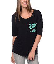 Lunachix Mint Tribal Print Black Pocket Tee Shirt