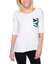 Lunachix Mint Tribal Print Pocket White Tee Shirt