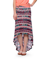 Lunachix Multicolor Tribal Print High Low Maxi Skirt