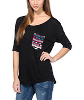Lunachix Multicolor Tribal Print Pocket Black T-Shirt