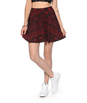 Lunachix Red & Black Tribal Skater Skirt