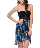 Lunachix Royal Blue Print High Low Strapless Dress