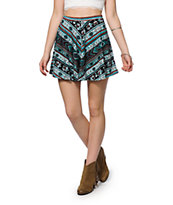 Lunachix Tribal Floral Skater Skirt