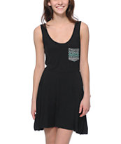 Lunachix Tribal Pocket Black Skater Dress