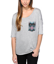 Lunachix Tribal Pocket Heather Grey T-Shirt