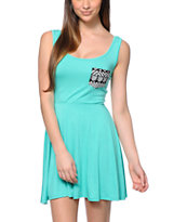 Lunachix Tribal Pocket Mint Skater Dress