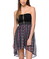 Lunachix Tribal Print Strapless High Low Dress