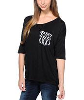 Lunachix White Tribal print Pocket Black T-Shirt