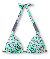 Malibu Cheetah Mint & Grey Triangle Bikini Top