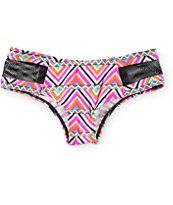 Malibu Coachella Pyramids Mesh Inset Hipster Bikini Bottom