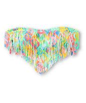 Malibu Electro Wave Multicolor Fringe Bandeau Bikini Top