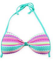 Malibu Stripe Trip Tribal Molded Cup Bikini Top