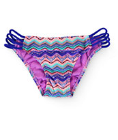 Malibu Tribal Wave Strap Side Bikini Bottom