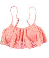 Malibu Walk This Way Coral Flounce Bikini Top