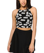 Married To The Mob Bitch Sticker Crop Tank Top
