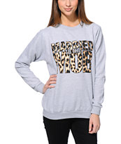 Married To The Mob Box Logo Leopard Grey Crew Neck Sweatshirt
