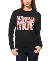 Married To The Mob Box Logo Lips Black Crew Neck Sweatshirt