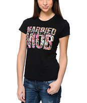 Married To The Mob Floral Fill Mob Logo Black Tee Shirt
