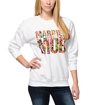 Married To The Mob Floral Mob Logo White Crew Neck Sweatshirt