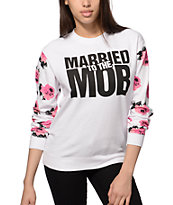 Married To The Mob Floral Sleeve Crew Neck Sweatshirt