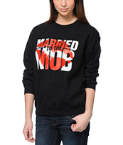 Married To The Mob Kiss Logo Black Crew Neck Sweatshirt