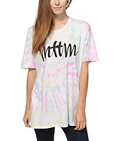 Married To The Mob MTTM Script Rainbow Tie Dye T-Shirt