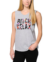 Married To The Mob Relax Tropic Grey Muscle Tank Top