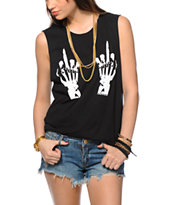 Married To The Mob Skeleton Hands Muscle Tee