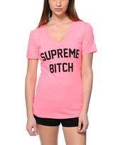 Married To The Mob Supreme Bitch Hot Pink V-Neck T-Shirt