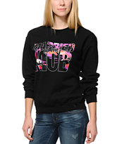 Married To The Mob Tropical Mob Logo Black Crew Neck Sweatshirt