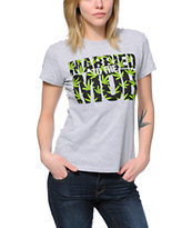 Married To The Mob Weed Fill Mob Logo Grey Tee Shirt
