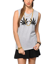 Married To The Mob Weed Leaves Muscle Tee