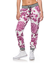 Married To The Mob White Floral Jogger Pants