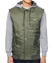 Matix Asher Chevron Olive Vest Hoodie