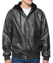 Matix Barclay Charcoal Faux Leather Hooded Jacket
