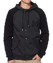 Matix Globetrotter Black & Charcoal Button Up Hooded Varsity Jacket