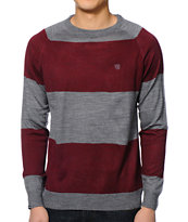 Matix Nabokov Heather Grey & Burgundy Stripe Sweater