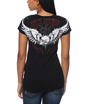 Metal Mulisha Bad To The Bone Black V-Neck Tee Shirt