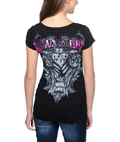 Metal Mulisha Girls Enlightened Black Scoop Neck Tee Shirt